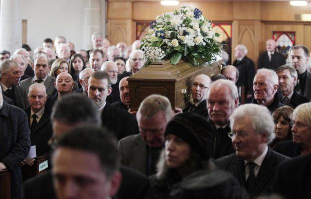 Funeral of former sports editor of the Belfast Telegraph Malcolm Brodie