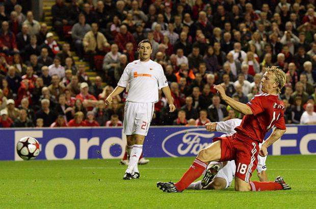 File photo dated 16/09/2009 of Liverpool's Dirk Kuyt scoring against Debrecen in their UEFA Champions League match at Anfield. Liverpool today said they have had no contact from Europol or any other body in connection with match-fixing allegations surrounding their 2009 Champions League match against Debrecen