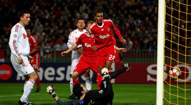 Debrecen v Liverpool - UEFA Champions League...BUDAPEST, HUNGARY - NOVEMBER 24: David Ngog of Liverpool scores the first goal during the UEFA Champions League group E match between Debrecen and Liverpool at the Ferenc Puskas Stadium on November 24, 2009 in Budapest, Hungary