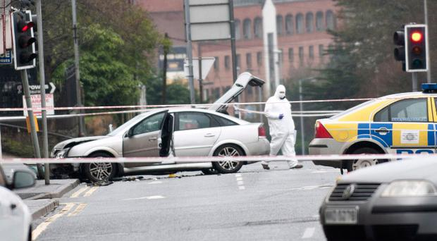 The scene after Pc Philippa Reynolds died in a crash involving a suspected stolen car in Derry. The 27-year-old officer was on routine patrol when the incident happened on the Limavady Road in the early hours of Saturday morning