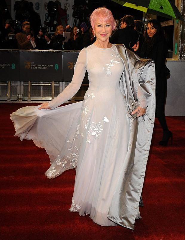 Dame Helen Mirren arriving for the 2013 British Academy Film Awards at the Royal Opera House, London.