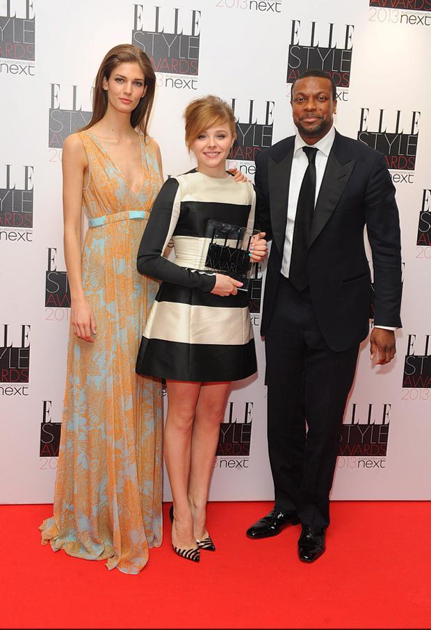 Kendra Spears with Next Future Icon Winner Chloe Moretz and Chris Tucker in the press room at the 2013 Elle Style Awards at The Savoy Hotel