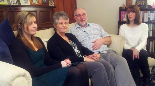 Dorothy and Mervyn Reynolds, parents of Constable Philippa Reynolds who was killed when her patrol car was hit by a stolen 4x4, speaking from the family home in Crumlin today with their other daughters Debra (left) and Nicola.
