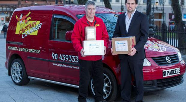 Paul Stewart of NI Parcels with Robert Ferguson of Captain Courier