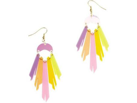 1. Pastel £55, Tatty Devine, tattydevine.com The sun has barely been seen for months, but you can be rainbow bright with these chandelier-style earrings. With segments of coloured perspex in lemon, acid pink, pearlised peach and lilac, these beauties shimmer like oil on water.