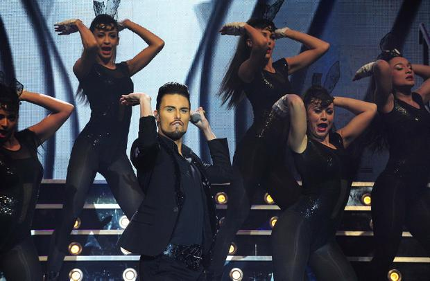 Pacemaker Press Belfast 27-02-2013: The X Factor Live Show 2013 hits the Odyssey Arena in Belfast for two nights. Pictured performing on stage Rylan. Picture By: Arthur Allison.