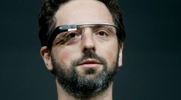 Google co-founder Sergey Brin using Google Glass
