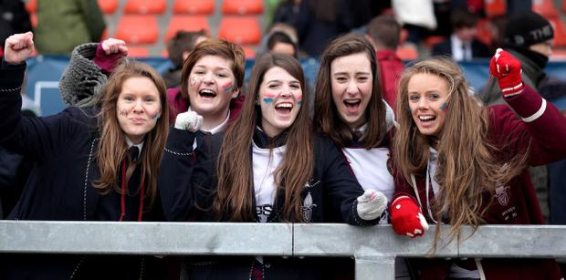 06.03.13. PICTURE BY DAVID FITZGERALD The 2nd Semi-Final of the School's Cup at Ravenhill Rugby Ground, Belfast between Methodist College and Royal School Armagh. Royal School Armagh fans