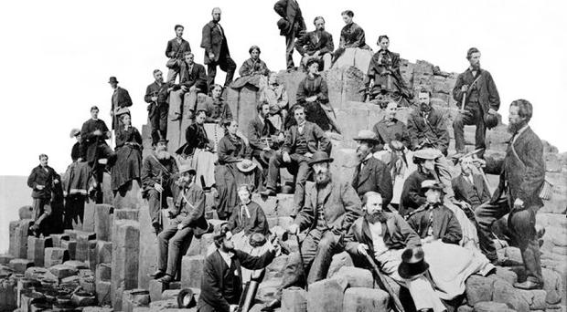 Belfast Naturalists' Field Club members on The Honeycomb at the Giants Causeway, Co. Antrim, in June 1868 by photographic artist, Mr Mack, of Coleraine'. Courtesy of BNFC Archives
