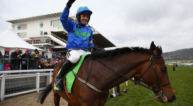 Ruby Walsh celebrates onboard Hurricane Fly after winning the Champion Hurdle Challenge Trophy race during Champion Day at Cheltenham Racecourse on March 12, 2013 in Cheltenham, England. (Photo by Michael Steele/Getty Images)