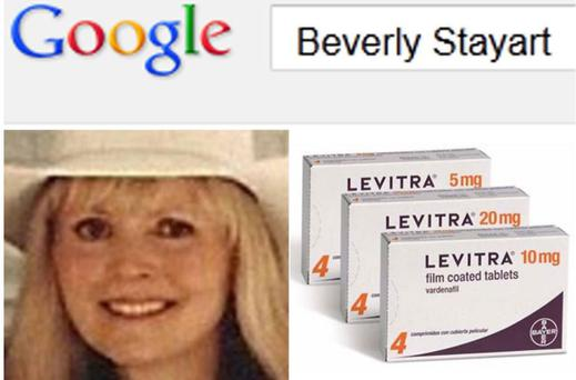 Google and Yahoo! randomly juxtaposed Beverly Stayart's name with a number of drugs used to treat sexual dysfunction including Levitra