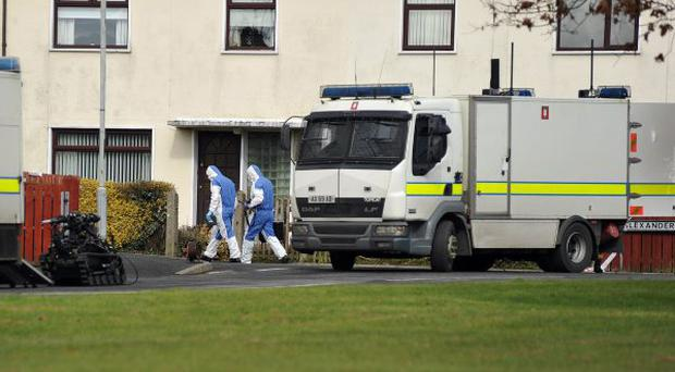 PSNI attending a security alert at Alexander Avenue, Armagh on Friday morning.