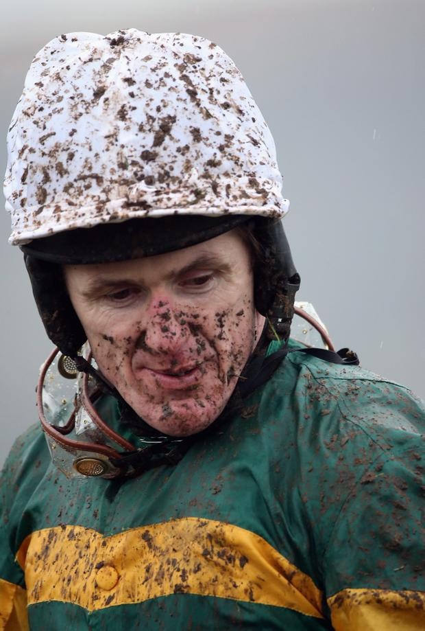 A.P. McCoy on At Fishers Cross after winning the Albert Bartlett Novices' Hurdle on Cheltenham Gold Cup day at Cheltenham