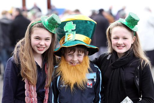 Press Eye - Belfast - 17th March 2011 - St Patrick's Day Races at Down Royal Racecourse. Picture by Kelvin Boyes / Press Eye. Sian Crossey, Tom Burrows and Lucy Burrows at Down Royal
