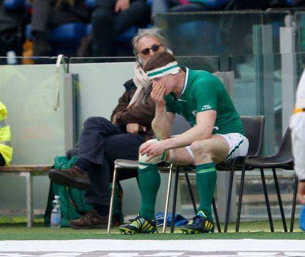 ROME, ITALY - MARCH 16: Brian O'Driscoll of Ireland sits in the sin bin during the RBX Six Nations match between Italy and Ireland at Stadio Olimpico on March 16, 2013 in Rome, Italy. (Photo by Tom Shaw/Getty Images)