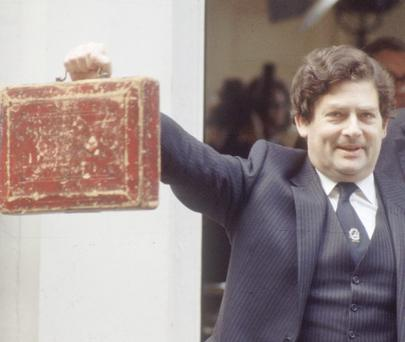 1984 Chancellor of the Exchequer Nigel Lawson, holding the famous Budget Box.