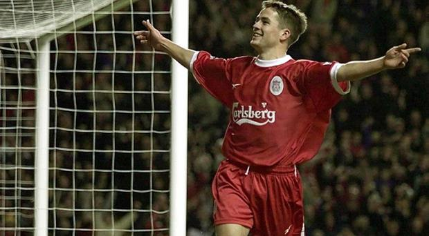 File photo dated 28/12/1999 of Liverpool's Michael Owen celebrating his goal against Wimbledon during the FA Carling Premiership match at Anfield