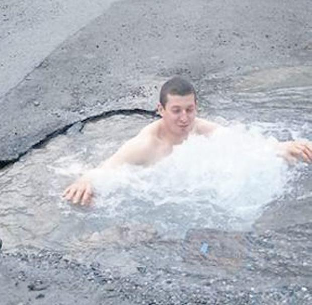 Ireland's biggest pothole - more like a plunge pool