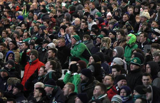 Northern Ireland v Israel World Cup qualifier at Windsor Park in Belfast. Northern Ireland fans pictured during the match.