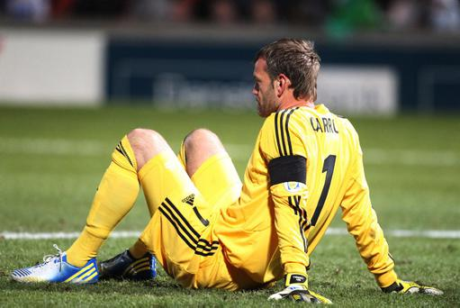 Northern Ireland goalkeeper Roy Carroll shows his dejection after conceding the first goal against Israel at Windsor Park