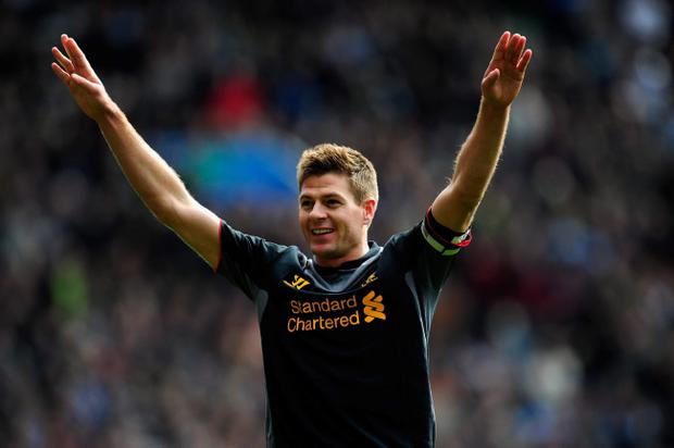 BIRMINGHAM, ENGLAND - MARCH 31: Liverpool captain Steven Gerrard celebrates after scoring the second Liverpool goal during the Barclays Premier League match between Aston Villa and Liverpool at Villa Park on March 31, 2013 in Birmingham, England. (Photo by Stu Forster/Getty Images)