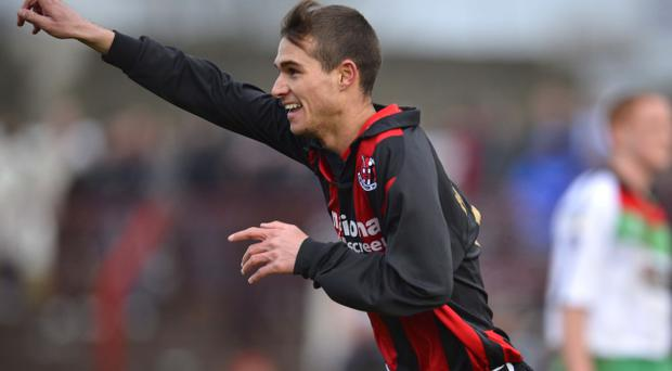 Crusaders goalscorer David McMaster celebrates at Saturday's game