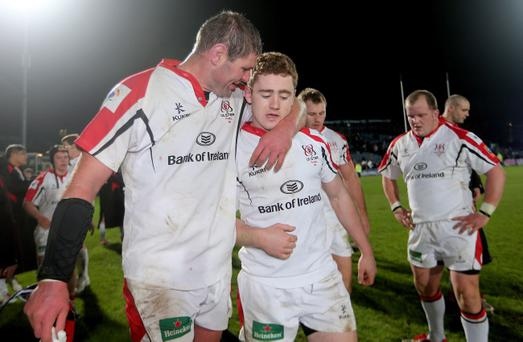 Ulster's Johann Muller celebrates with Paddy Jackson after the game