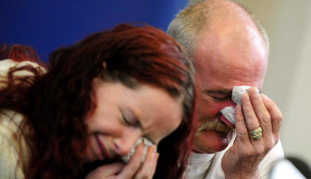 Mick Philpott and wife Mairead speak to the media at Derby Conference Centre, Derby following the fire at their home