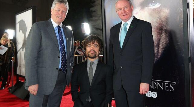 Game of Thrones star Peter Dinklage with the First and Deputy First Ministers at the premiere of the third series