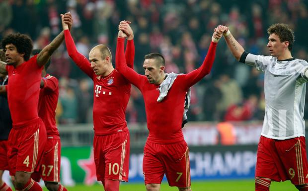 MUNICH, GERMANY - APRIL 02: Dante, Arjen Robben, Franck Ribery and Mario Mandzukic of FC Bayern Muenchen celebrate victory after the UEFA Champions League quarter final first leg match between FC Bayern Muenchen and Juventus at Allianz Arena on April 2, 2013 in Munich, Germany. (Photo by Joern Pollex/Bongarts/Getty Images)