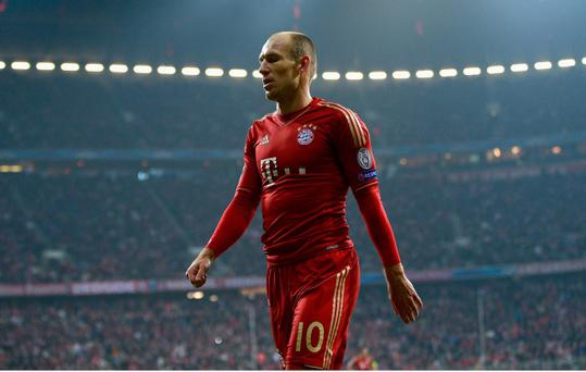 MUNICH, GERMANY - APRIL 02: Arjen Robben of FC Bayern Muenchen looks on during the UEFA Champions League quarter final first leg match between FC Bayern Muenchen and Juventus at Allianz Arena on April 2, 2013 in Munich, Germany. (Photo by Dennis Grombkowski/Bongarts/Getty Images)