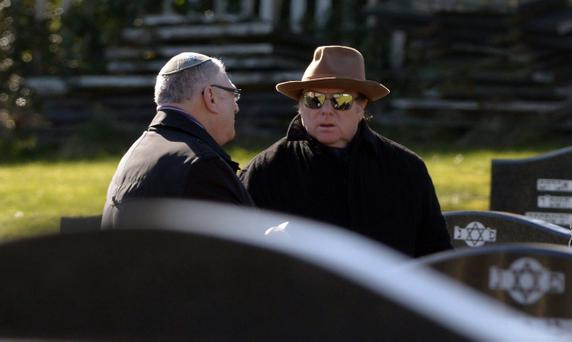 Van Morrison attends the funeral of jazz critic and musician Solly Lipschitz in the Jewish section of Carnmoney Cemetery yesterday