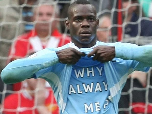 Mario Balotelli strips during City's 6-1 win at United last season