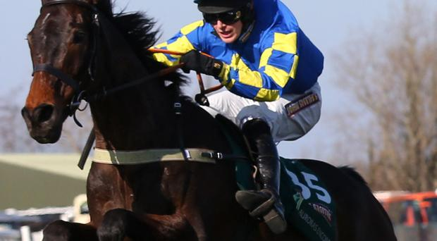LIVERPOOL, ENGLAND - APRIL 06: Ryan Mania riding Auroras Encore clears the last to win the John Smiths Grand National Steeple Chase at Aintree Racecourse on April 6, 2013 in Liverpool, England. (Photo by Alex Livesey/Getty Images)