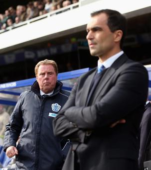 LONDON, ENGLAND - APRIL 07: Queens Park Rangers manager Harry Redknapp and Wigan Athletic manager Roberto Martinez looks on ahead of the Barclays Premier League match between Queens Park Rangers and Wigan Athletic at Loftus Road on April 7, 2013 in London, England. (Photo by Scott Heavey/Getty Images)