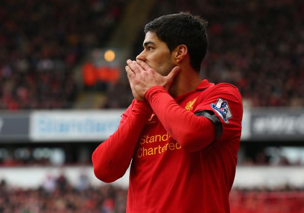 LIVERPOOL, ENGLAND - APRIL 07: Luis Suarez of Liverpool reacts during the Barclays Premier League match between Liverpool and West Ham United at Anfield on April 7, 2013 in Liverpool, England. (Photo by Alex Livesey/Getty Images)