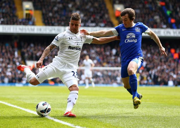 LONDON, ENGLAND - APRIL 07: Kyle Walker of Tottenham Hotspur is put under pressure by Leighton Baines of Everton as he goes to cross the ball during the Barclays Premier League match between Tottenham Hotspur and Everton at White Hart Lane on April 7, 2013 in London, England. (Photo by Clive Rose/Getty Images)