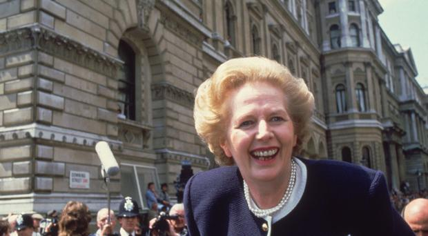 FILE - APRIL 8: Lord Bell, spokesperson for Baroness Margaret Thatcher, announced in a statement that the former British Prime Minister died peacefully following a stroke aged 87. British prime minister Margaret Thatcher in Downing Street, London, at the start of her third term in office. (Photo by Hulton Archive/Getty Images)