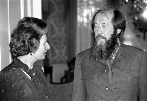 File photo dated 11/05/83 of Prime Minister Margaret Thatcher receiving Soviet writer Aleksander Solzhenitsyn at No 10 Downing Street, London