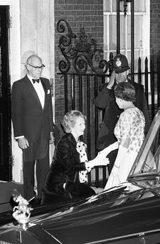 File photo dated 04/12/1985 of Prime Minister Margaret Thatcher with Queen Elizabeth II prior to a dinner at 10 Downing Street, London, celebrating the 250th anniversary of the Prime Minister's office