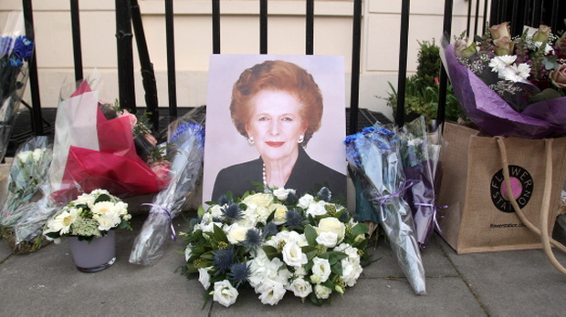 Flowers laid outside the home of Baroness Thatcher in Belgravia, London following her death this morning after a stroke