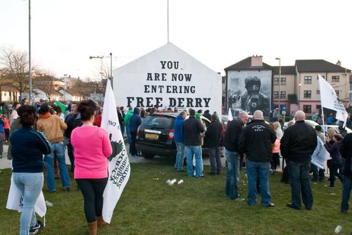 Crowds gather in Derry's Bogside to 'celebrate' the death of former Prime Minister Margaret Thatcher