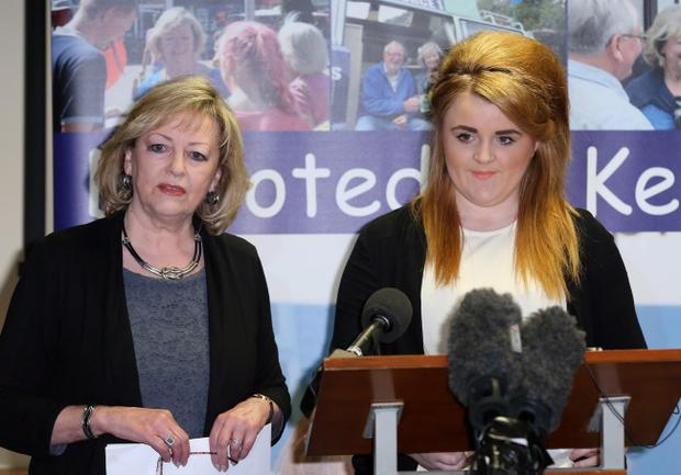 Ann Barnes, Kent Police and Crime Commissioner (left) stands next to Paris Brown, Britain's first youth crime commissioner, during a press conference in Maidstone, Kent