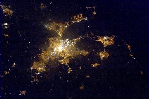A stunning image of Belfast at night taken by astronaut Commander Chris Hadfield on April 9, 2013