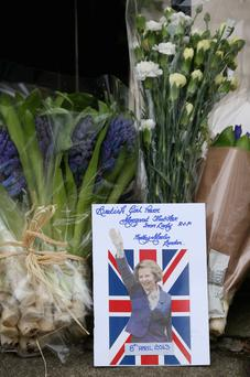 Floral tributes outside Baroness Thatcher's residence in Chester Square, London