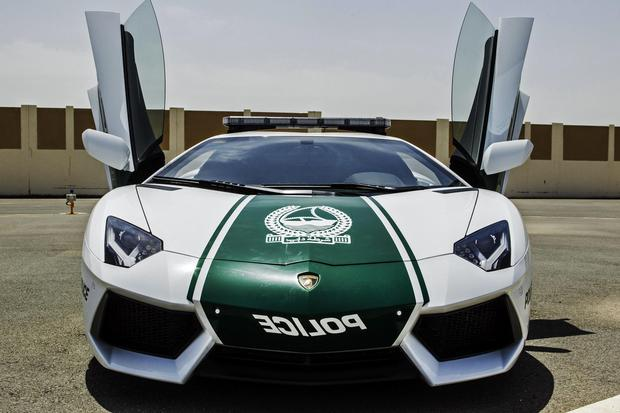 This image released by the Dubai Police, shows a Lamborghini Aventador, in Dubai, United Arab Emirates