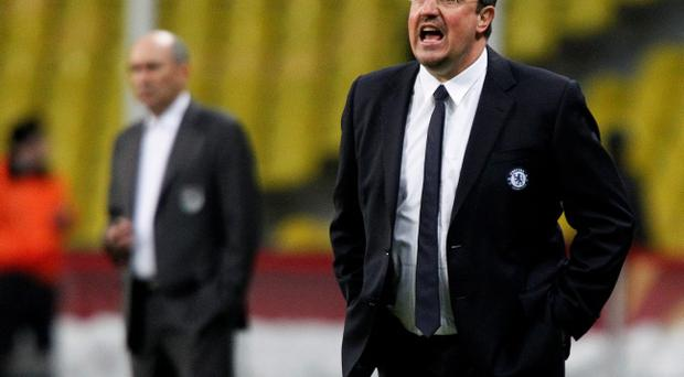 MOSCOW, RUSSIA - APRIL 11: Head coach Rafael Benitez of Chelsea FC gestures during the UEFA Europa League quarter final second leg match between FC Rubin Kazan and Chelsea FC at the Luzhniki Stadium on April 11, 2013 in Moscow, Russia. (Photo by Dmitry Korotayev/Epsilon/Getty Images)