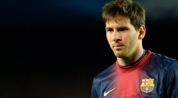 BARCELONA, SPAIN - APRIL 10: Lionel Messi of Barcelona looks on during the UEFA Champions League quarter-final second leg match between Barcelona and Paris St Germain at Nou Camp on April 10, 2013 in Barcelona, Spain. (Photo by Shaun Botterill/Getty Images)