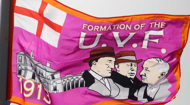 Ulster Volunteer Force flags erected across east Belfast. The flags were put up over the weekend on the main roads around east Belfast - flags seen on the Belmont Road