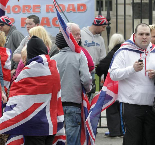 David Craig (far right - White top, black bottoms) at the Belfast Flag protest Saturday April 13th 2012.